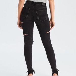 Black distressed AE jeans